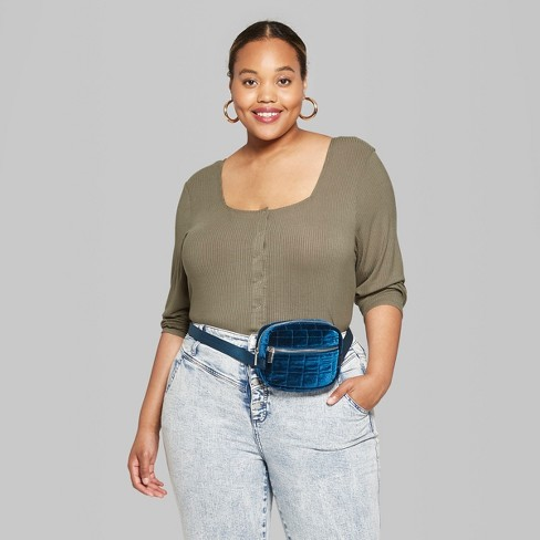 71525cc3 Women's Striped Plus Size Snap Front Long Sleeve Top - Wild Fable™ Olive 4X  : Target