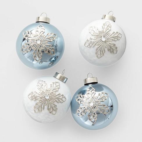 Christmas Ornament Set.4ct Glass Christmas Ornament Set Snowflakes Blue And White Wondershop