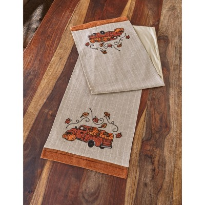 Lakeside Harvest Gathering Embroidered Truck Table Runner - Autumn Table Decoration