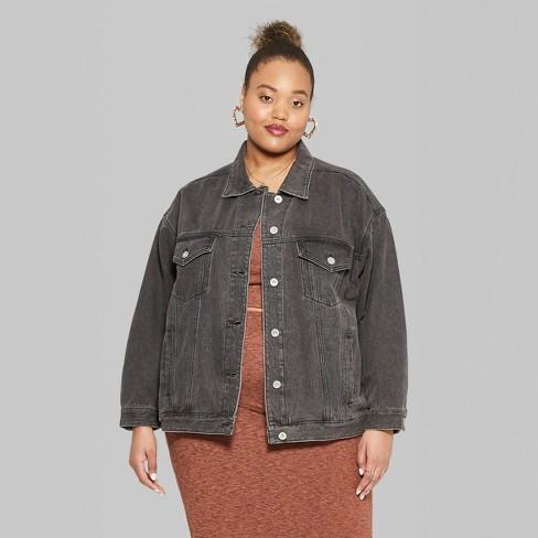 fc312b7a7 Women's Plus Size Denim Trucker Jacket - Wild Fable™ Black Wash