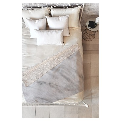 Gray Geometric Emanuela Carratoni Italian Marble Carrara Sherpa Throw Blanket (50 X60 )- Deny Designs®