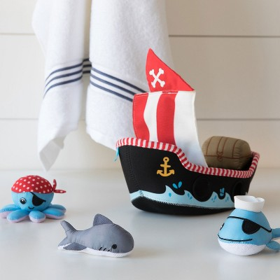 Manhattan Toy Neoprene Pirate Ship 5 Piece Floating Spill n Fill Bath Toy with Quick Dry Sponges and Squirt Toy