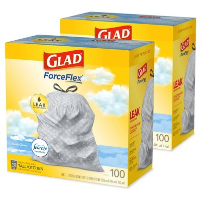 Glad Tall Kitchen Drawstring Trash Bags OdorShield 13 Gallon Febreze Fresh Clean - Gray - Bundle