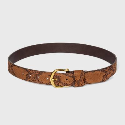 Women's Suede Snake Horseshoe Belt - Universal Thread™ Desert Tan