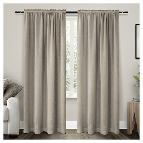 Belgian Texted Linen Rod Pocket Sheer Window Curtain Panels Pair - Exclusive Home - image 1 of 4