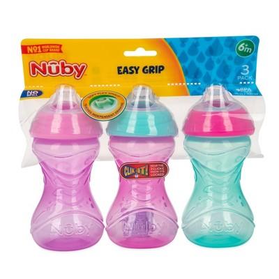 Nuby 3pk Clik-It Soft Spout Cup - Purple/Pink/Aqua - 10oz