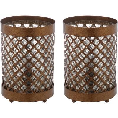 """(Set of 2) 11.5"""" Borden Hurricane Lamp Gold (Includes CFL Light Bulb) - Safavieh"""