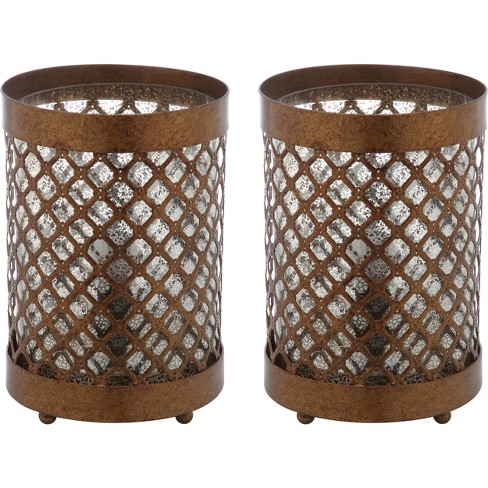 "(Set of 2) 11.5"" Borden Hurricane Lamp Gold (Includes Energy Efficient Light Bulb) - Safavieh - image 1 of 4"