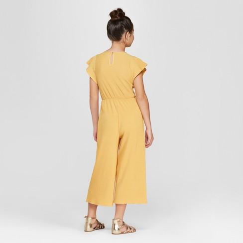 427125caa82c Girls  Short Sleeve Jumpsuit - Art Class™ Gold   Target