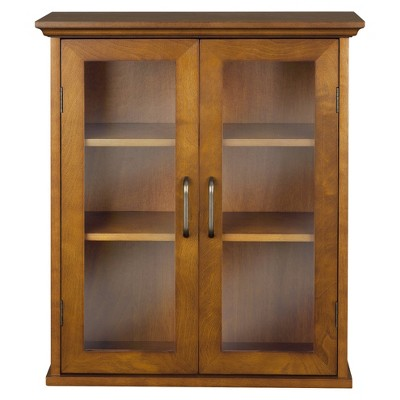Avery Wall Cabinet Oil Oak Brown - Elegant Home Fashions