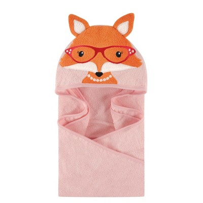 Hudson Baby Infant Girl Cotton Animal Face Hooded Towel, Foxy, One Size
