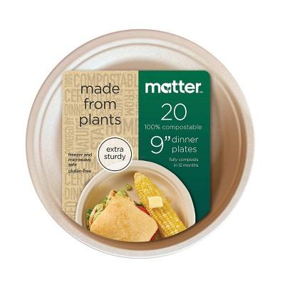 "Matter 100% Compostable Fiber Dinner Plates - 9"" - 20ct"