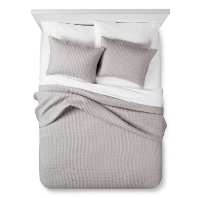 Gray Solid Quilt and Sham Set (Twin)2pc - The Industrial Shop