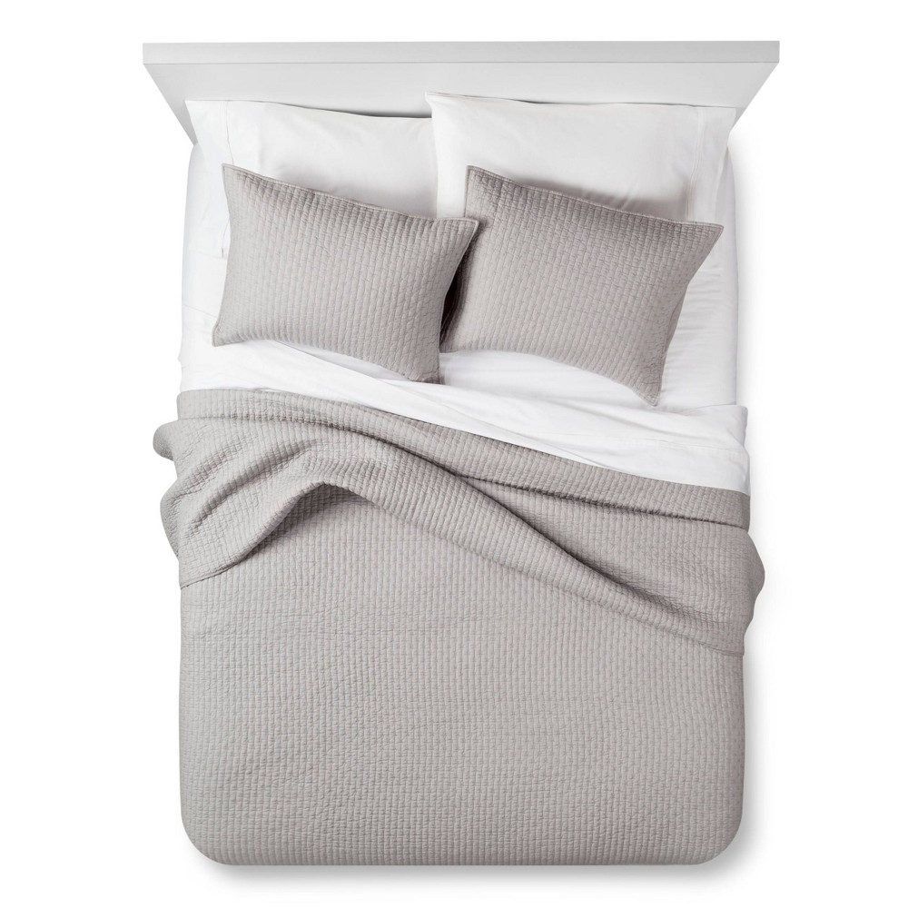 Image of Gray Solid Quilt and Sham Set (Twin) 2pc - The Industrial Shop