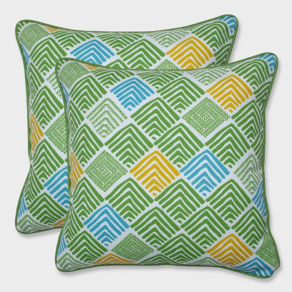"Image of ""16.5"""" 2pk Belk Seaglass Throw Pillows Green - Pillow Perfect, Black"""