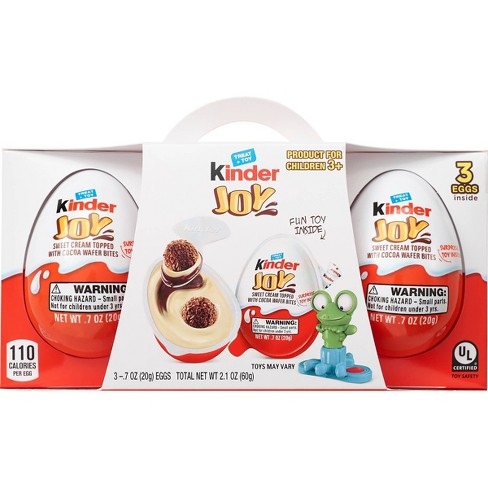 Kinder Joy Sweet Cream Topped with Cocoa Wafer Bites Chocolate Treat + Toy - 3ct - image 1 of 4