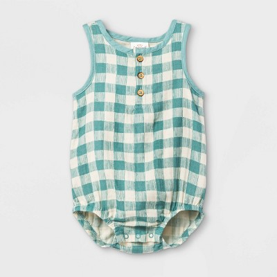 Baby Gauze Gingham Bubble Printed Romper - Cat & Jack™ Green