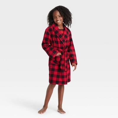 Kids' Holiday Buffalo Check Fleece Matching Family Pajama Robe - Wondershop™ Red