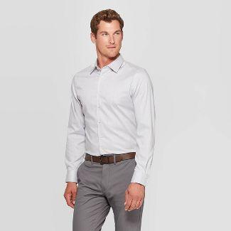 Men's Plaid Slim Fit Long Sleeve Dress Button-Down Shirt - Goodfellow & Co™ Gray Mist L