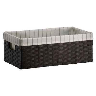 Lined Media Bin - Dark Brown Weave - Threshold™