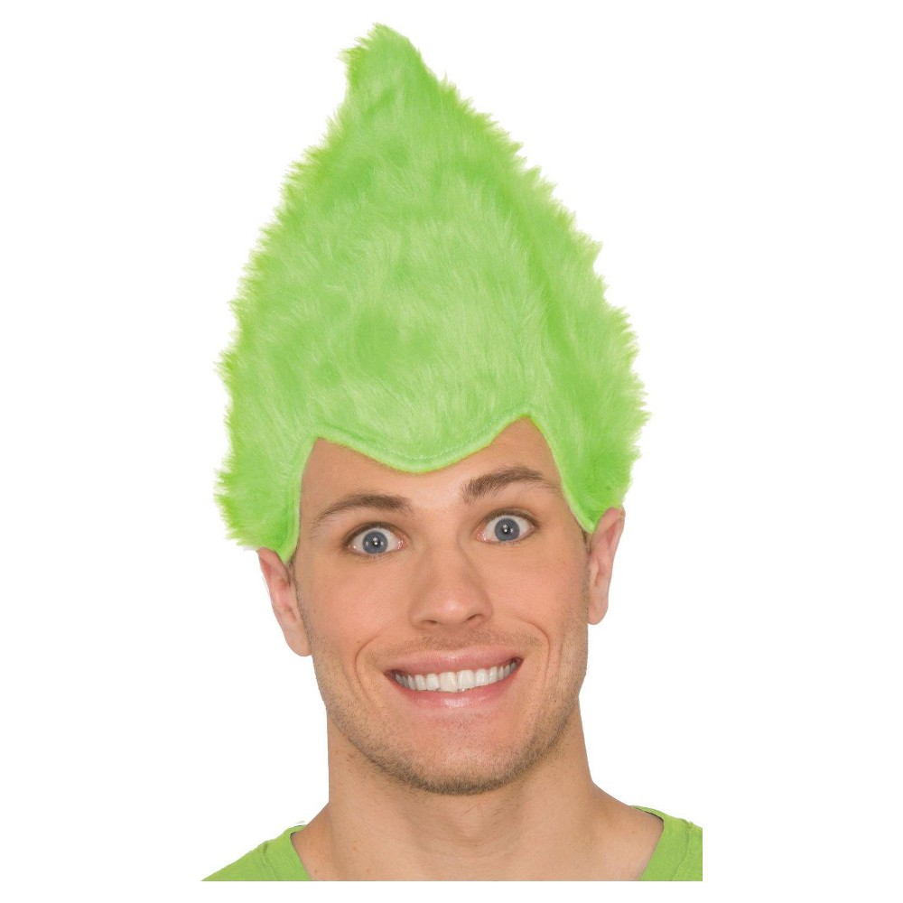 Image of Green Adult Fuzzy Wig, Adult Unisex
