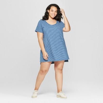 0229f0bb24a4d2 Women s Plus Size Striped Short Sleeve Scoop Neck T-Shirt Dress - Universal  Thread™