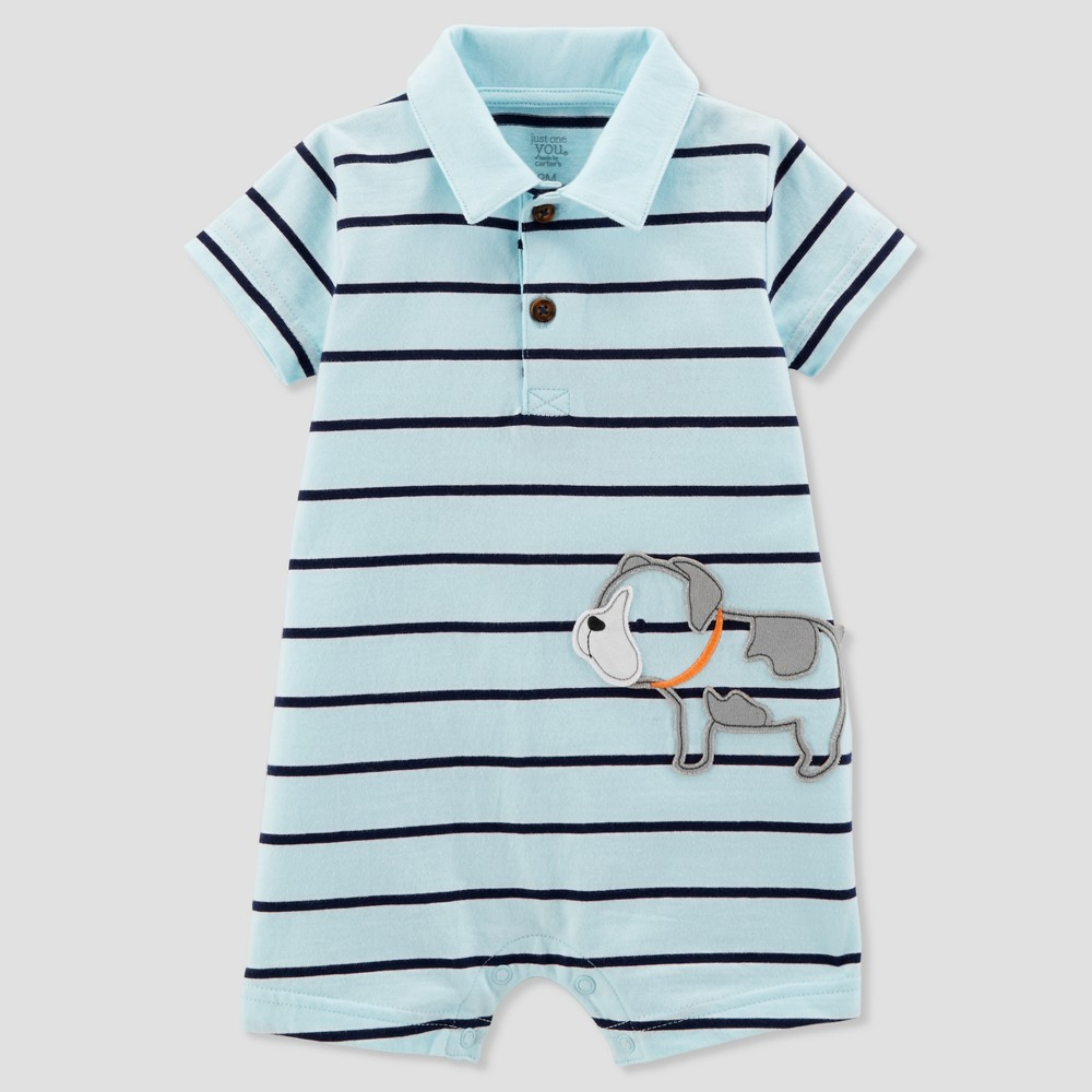 Baby Boys' 1pc Puppy Polo Romper - Just One You made by carter's Light Blue Newborn
