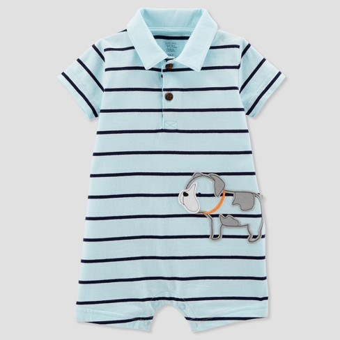 Baby Boys' 1pc Puppy Polo Romper - Just One You™ Made by Carter's® Light Blue - image 1 of 1