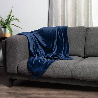 """50""""x60"""" Kimi Solid Plush Throw with Eco-Conscious Spill Repellency Blue - Sure Fit"""