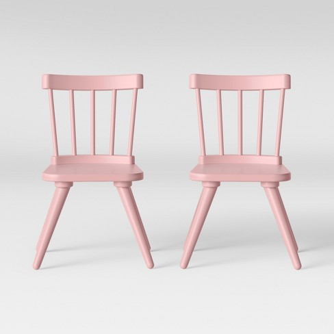 Excellent Set Of 2 Kids Windsor Wooden Chairs Pink Pillowfort Interior Design Ideas Gentotryabchikinfo