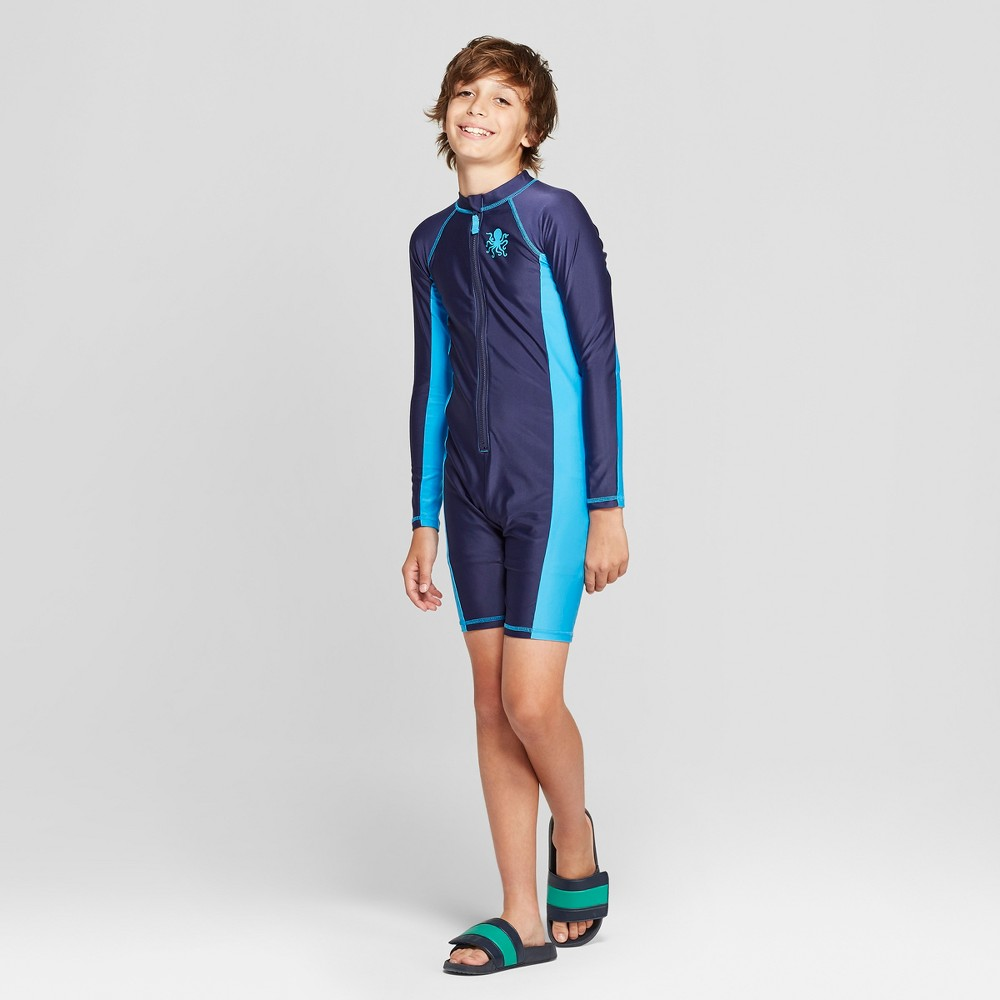 Boys' Full Body Long Sleeve Rash Guard With Compression Shorts - Cat & Jack Blue M Husky