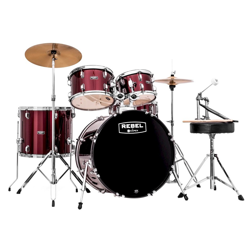 Mapex RB5294FTCDR Rebel 5-Piece Drum Set with Hardware, Cymbals and 22 Bass Drum - Dark Red