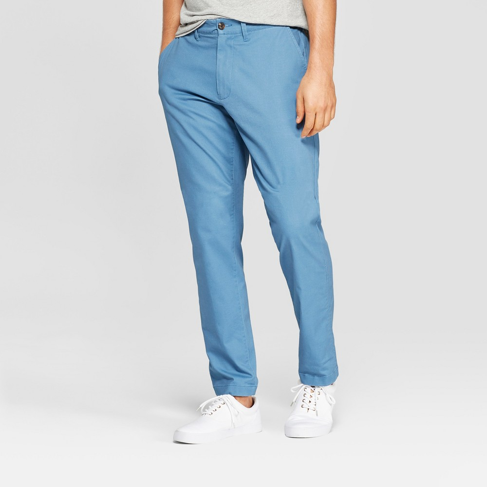 Men's 34 Regular Straight Fit Chino Pants - Goodfellow & Co Blue 33x34