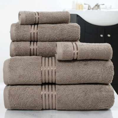 6pc Cotton Hotel Bath Towels Sets Taupe Brown - Yorkshire Home