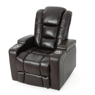 Emersyn Tufted Leather Power Recliner with Arm Storage and USB Cord Brown - Christopher Knight Home