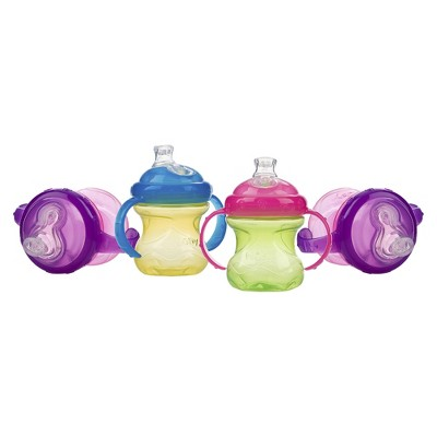 Nuby No-Spill Super Spout 2 Handle Cup - Girl (4 pack)
