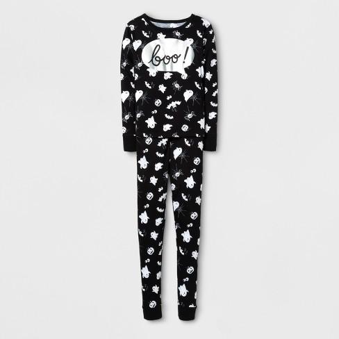 8b915db456fd Girls  Foil Boo Tight Fit Pajama Set - Cat   Jack™ Black   Target