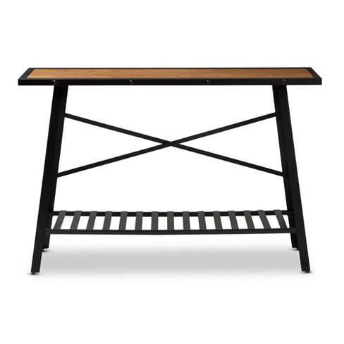 Allaire Wood Finished Metal Console Table Brown Bronze Baxtonstudio