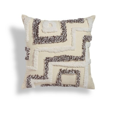 """18""""x18"""" Step Up Boucle Embroidered Square Throw Pillow Black/White - Sure Fit"""