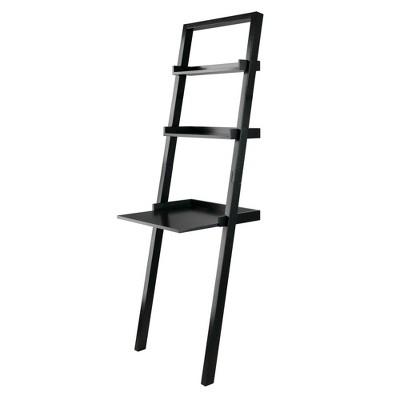 """69.36"""" Bellamy Leaning Desk with 2 Shelves Black - Winsome"""