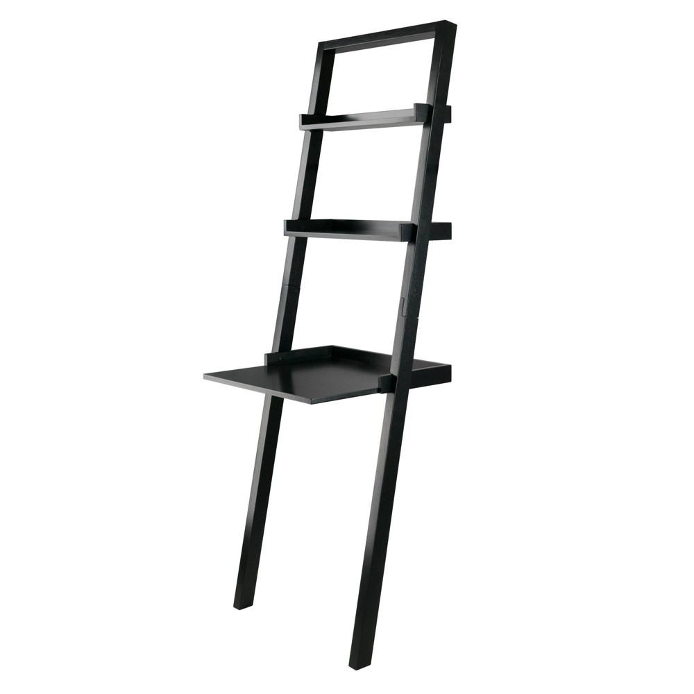 Image of Bellamy Leaning Desk with 2 Shelves Black - Winsome