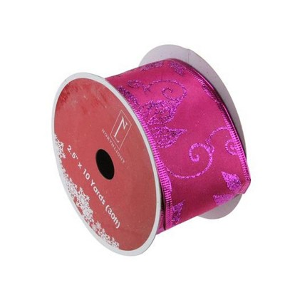 """Northlight Purple and Pink Shimmering Wired Christmas Craft Ribbon 2.5"""" x 10 Yards"""