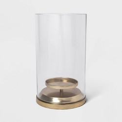 "12"" x 6.5"" Brass and Glass Hurricane Pillar Candle Holder Gold/Clear - Threshold™"