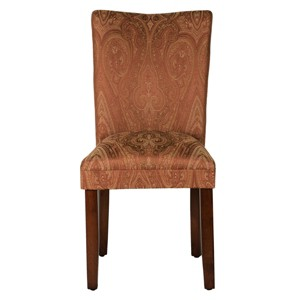 Parsons Dining Chair - Red/Gold Damask - HomePop