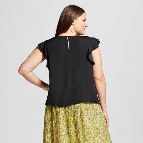3c1d59e58557a5 Women's Plus Size Ruffle Sleeve Top - Who What Wear™ Black 3X : Target