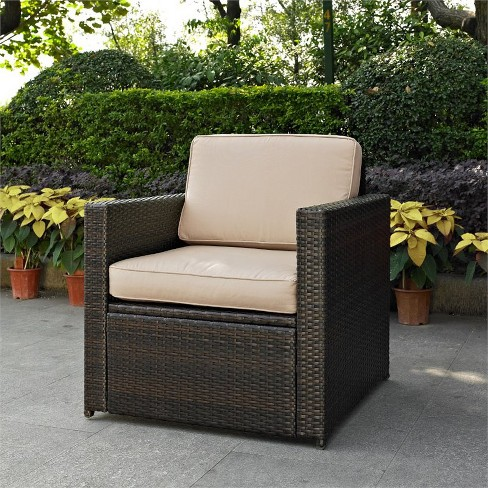 Steel Wicker Patio Arm Chair with Sand Cushion in Brown-Pemberly Row - image 1 of 1