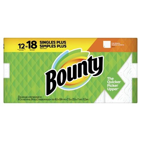 Bounty Paper Towels White - 12 Singles Plus Rolls - 18 Regular Rolls - image 1 of 4