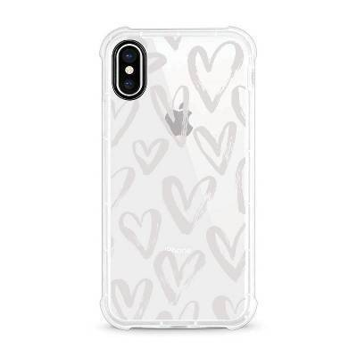 OTM Essentials Apple iPhone XS Max Rugged Edge Clear Case - White Hearts