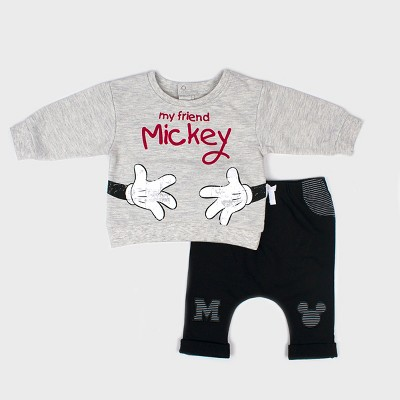Baby Boys' Disney Mickey Mouse & Friends Mickey Mouse 2pc Sweatshirt and Joggers Set - Black 0-3M