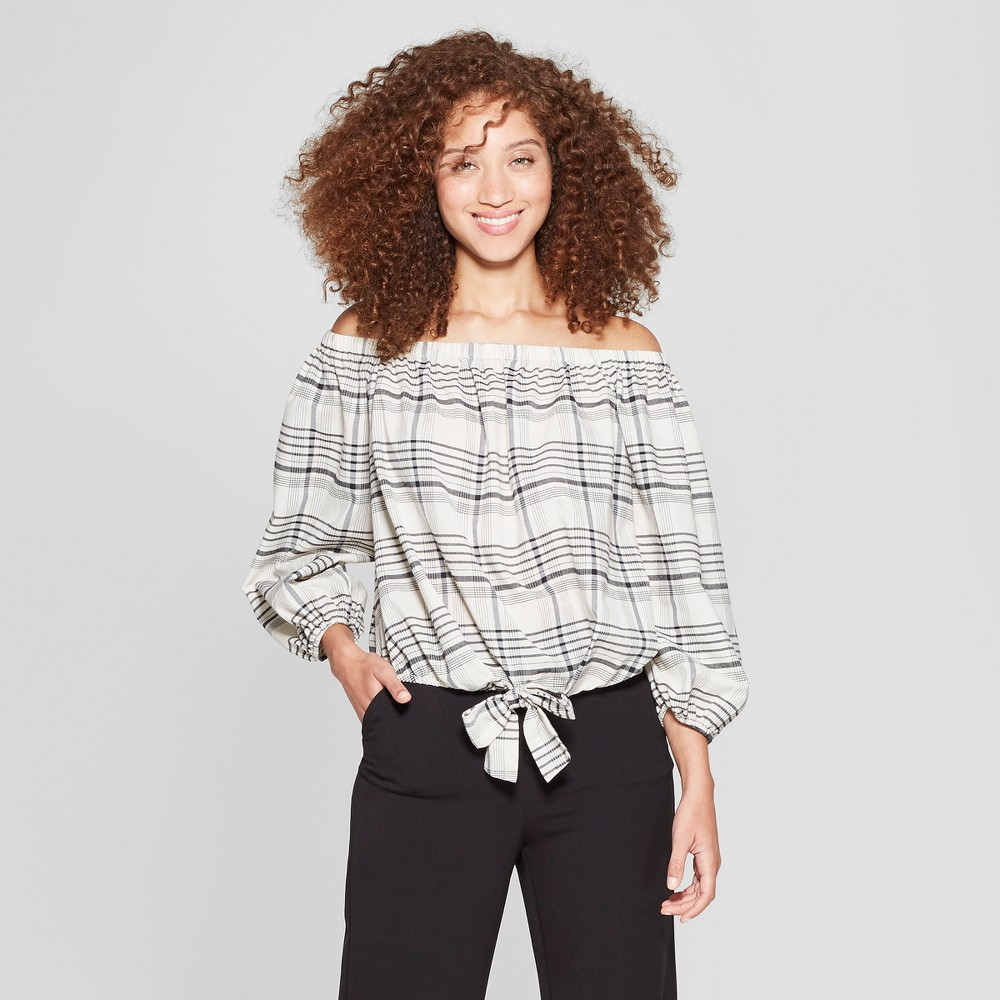 Women's Striped 3/4 Sleeve Off the Shoulder Tie Front Blouse - A New Day Gray/White Xxl